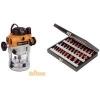 Kit défonceuse bi-mode 2400 W TRA001 Triton + coffret de 30 fraises 1/2»