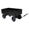 Remorque – plateau 400 kg 4 roues en acier peint pourTracteur-Tondeuse autoportée (Livraison gratuite)